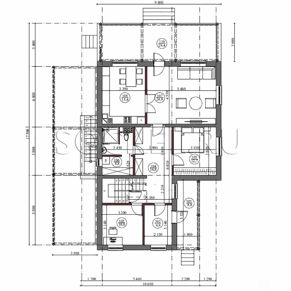 Проект дома bd-001